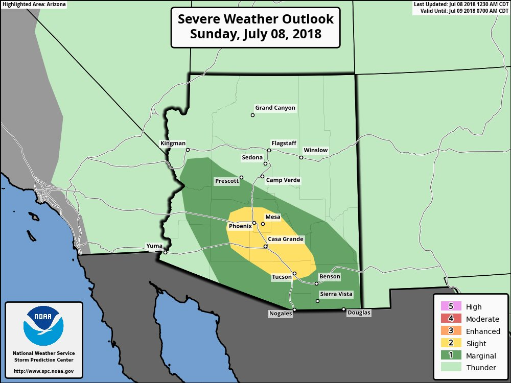 SPC Outlook for Sunday highlighting an above normal risk for severe weather in our area. #azwx #Tucson #Monsoon2018