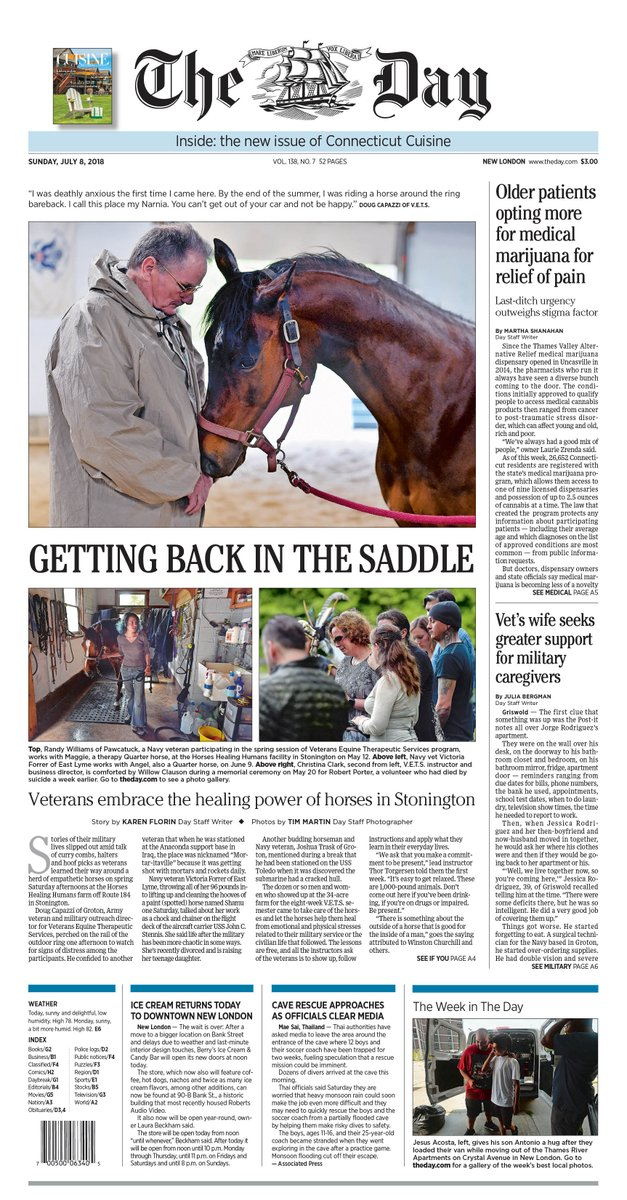 The Day On Twitter Sunday S Front Page How Horses Heal Veterans