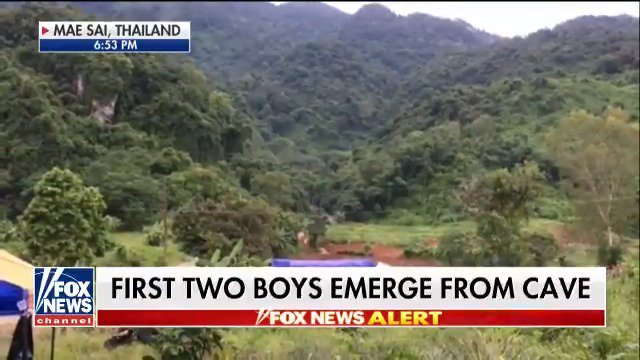 BREAKING: First two boys emerge from cave #ThaiCaveRescue