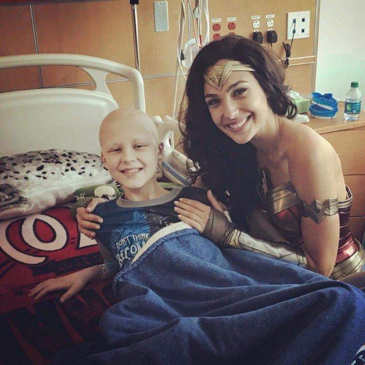 Gal Gadot being awesome and visiting sick kids at Inova Children's Hospital. #WonderWoman