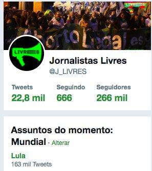 Lula é o assunto mais falado do mundo no Twitter neste momento!  #LulaLivre