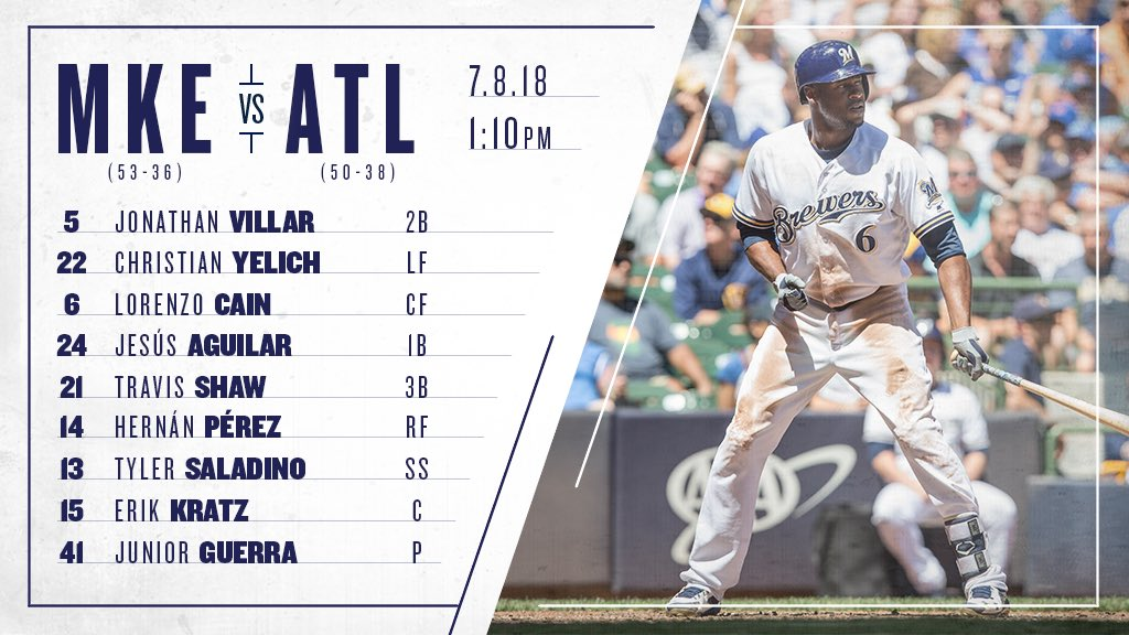 Here's the #Brewers lineup as Lorenzo Cain makes his return in the series finale against the Braves. #ThisIsMyCrew https://t.co/9rFaQTbN32