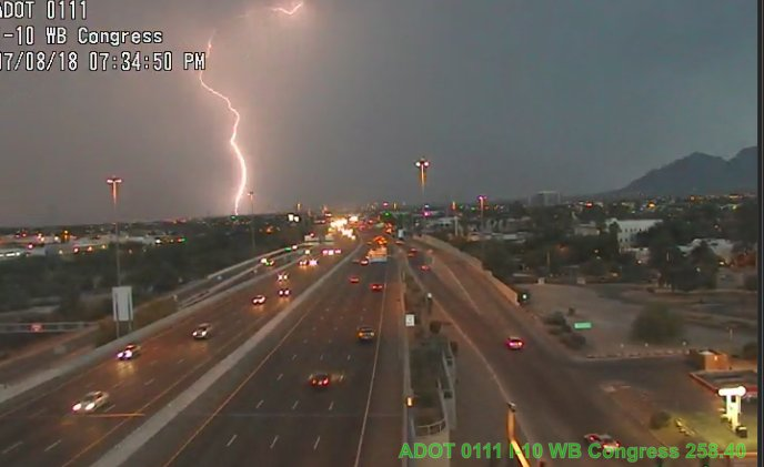 MORE lighting in Tucson, as seen from the I-10 near Congress. #Tucson #AzTraffic