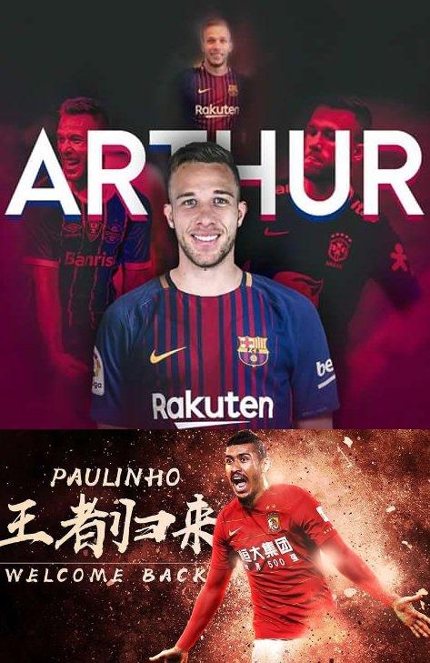 Artur: Grêmio ➡️Barcelona = Tite não levou para a Copa do Mundo Paulinho: China ⬅️ Barcelona = Tite levou para a Copa do Mundo 🤔