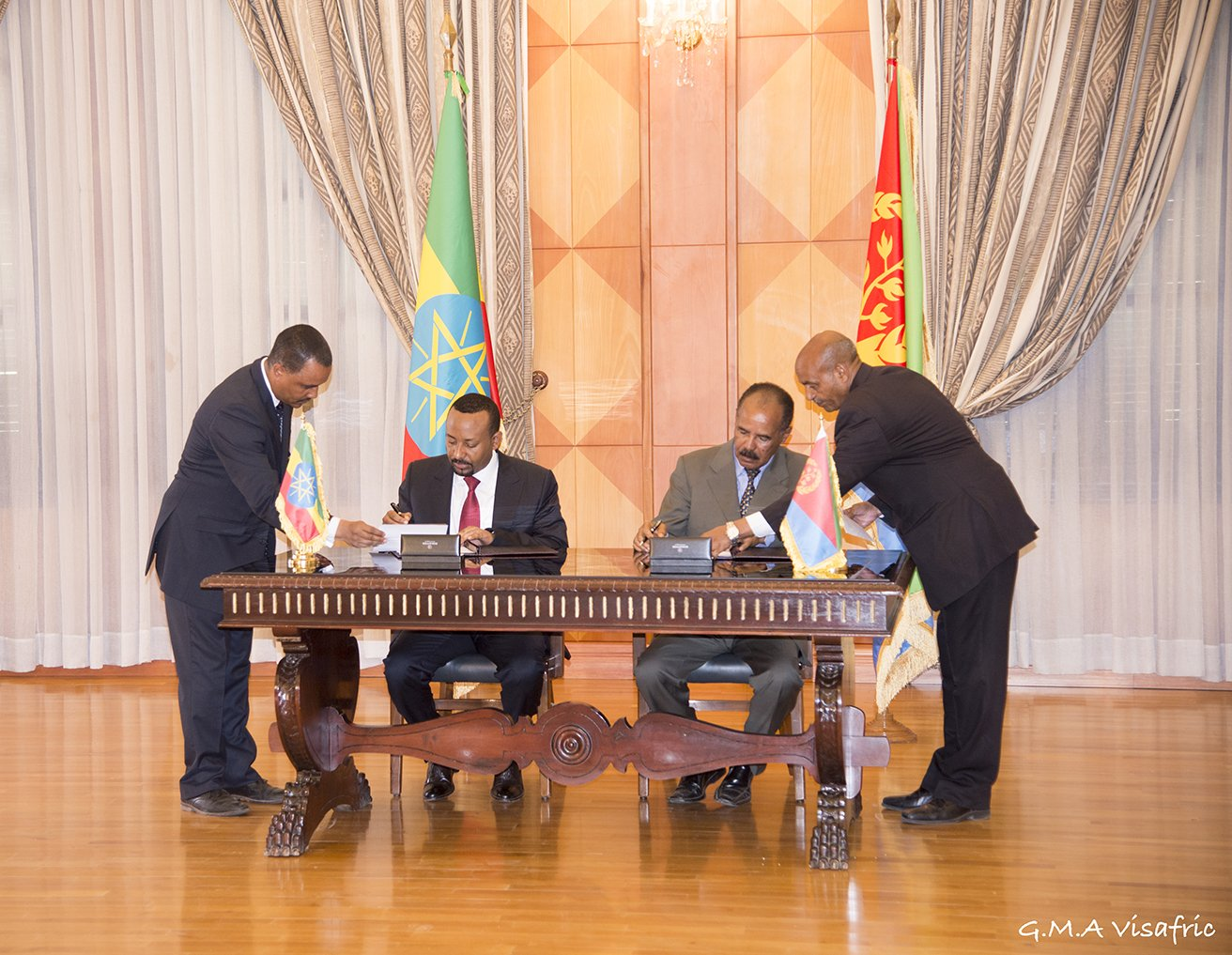 Image result for Ethiopia and Eritrea stop conflict, promise peace and shared ports
