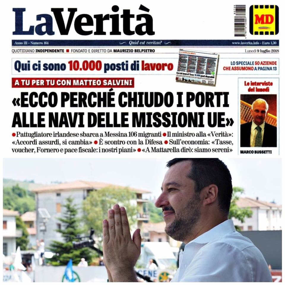 Su @LaVeritaWeb in edicola due pagine di mia intervista a @mariogiordano5 su immigrazione, sicurezza, economia e molto altro. Alzare la voce in Europa serve, e l'Italia oggi si fa sentire forte e chiaro.