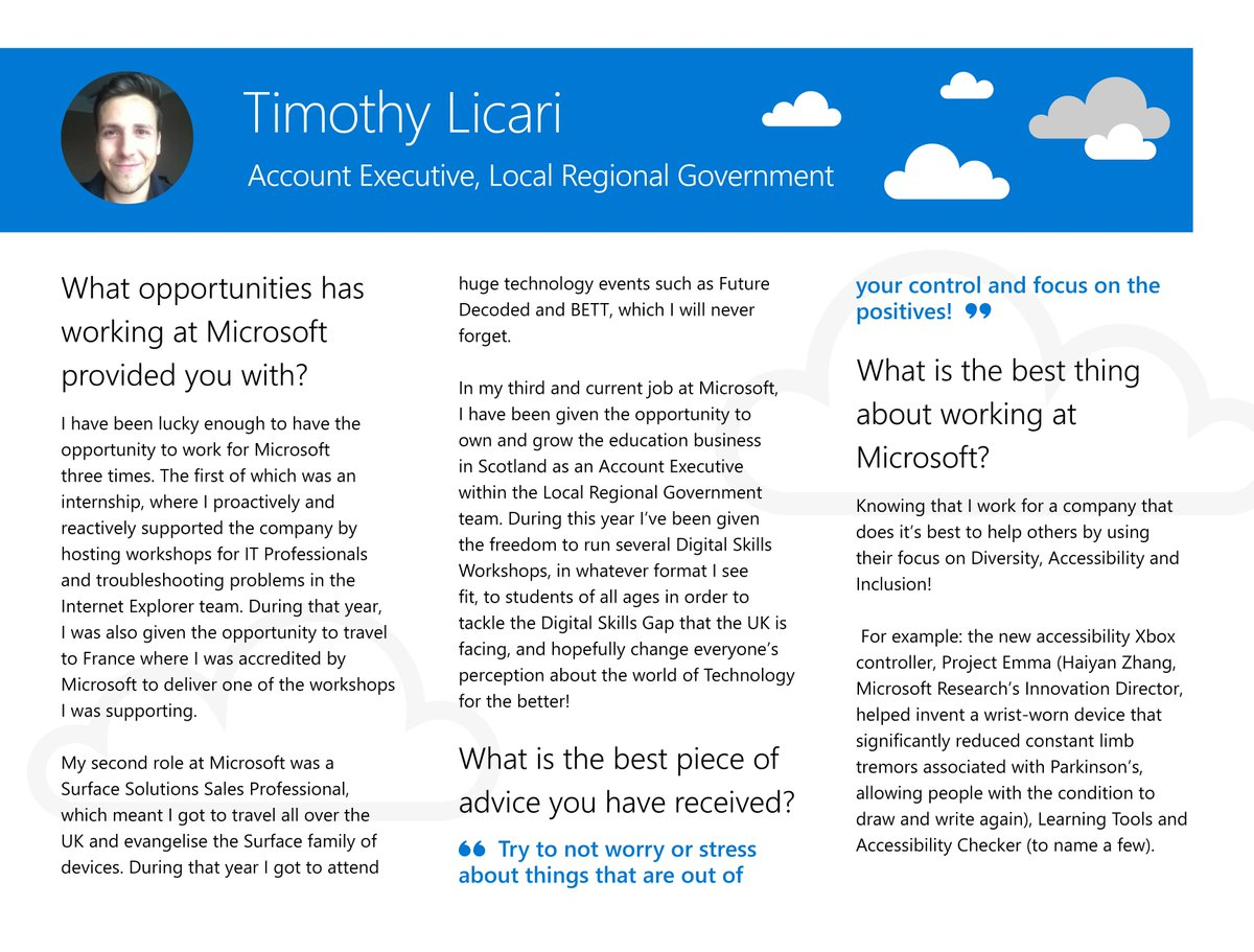 We would like to give you an insight into what it's like to work here at Microsoft Scotland with an interview style #ProfileOfTheMonth featuring our employees, interns and apprentices  Timothy Licari started out as an intern before returning here after Uni! #STEM #CareersinTech <br>http://pic.twitter.com/VNEImjNBUr
