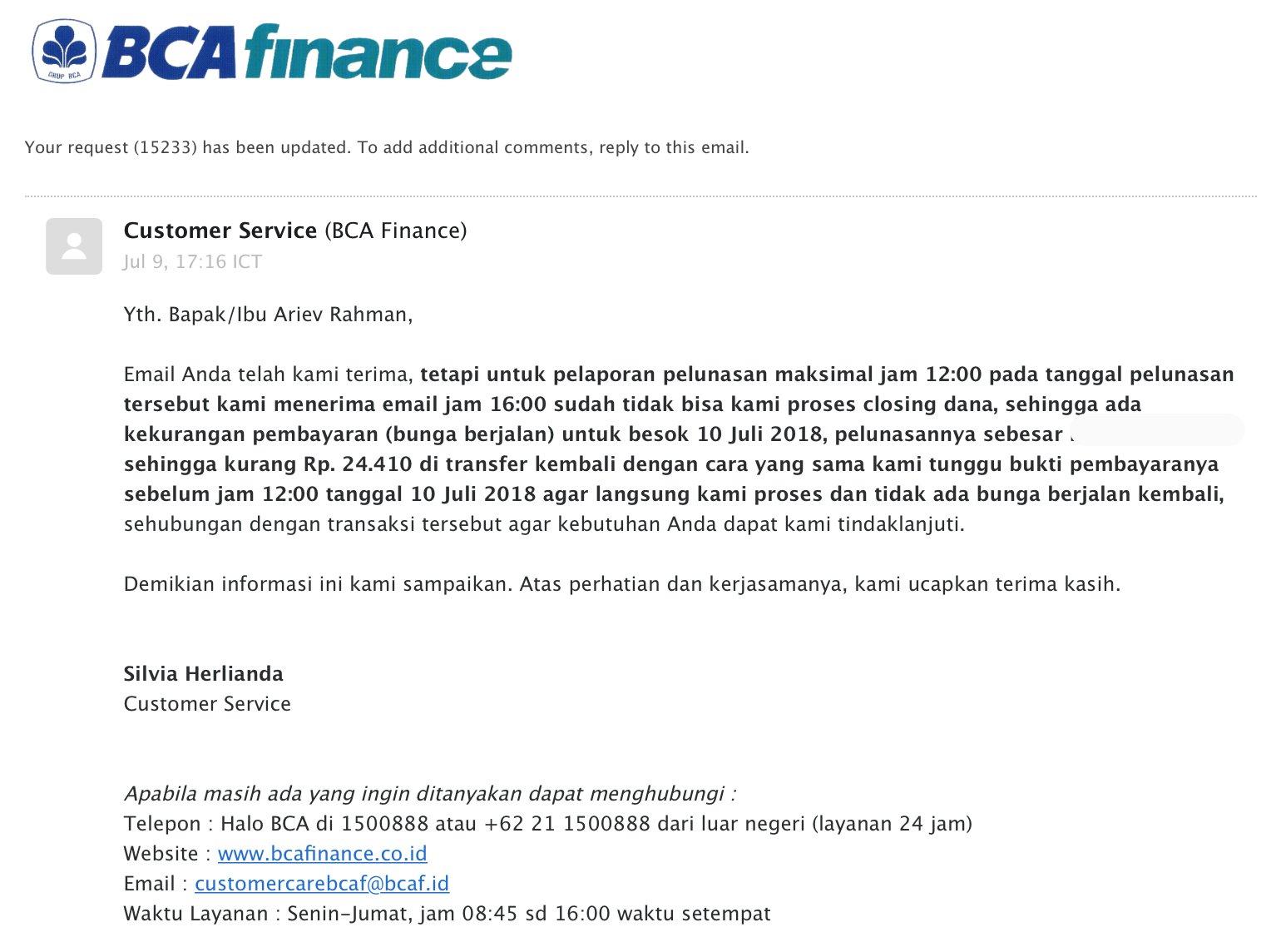 Muhammad Arif Rahman On Twitter Sungguh Dzalim Halobca Bankbca Bca Finance Ini Pembayaran Tidak Terlambat Namun Karena Khilaf Akibat Terlambat Melakukan Konfirmasi Pelunasan Pinjaman Melalui Email Yang Gue Gak Tahu Harus Dilakukan