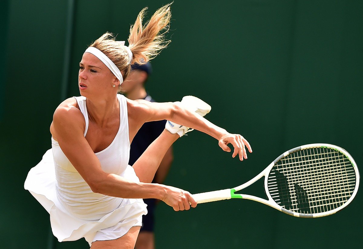 Camila Giorgi is through to her first ever Grand Slam quarterfinal at @Wimbledon!  Takes out Makarova 6-3, 6-4--&gt;  http:// wtatenn.is/xjvzrn  &nbsp;  <br>http://pic.twitter.com/OMSWhnTYMr