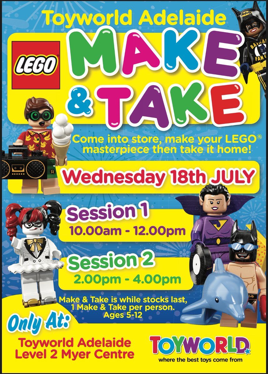 """This school holidays come in to Toyworld on Level 2, 18th July for an exclusive session with LEGO® """"Make & Take"""" - make your masterpiece and take it home!  Session 1 – 10:00am to 12:00pm Session 2 – 2:00pm to 4:00pm  100 Make & Takes per session while stocks last 1 per person"""