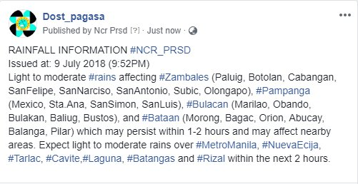 RAINFALL INFORMATION #NCR_PRSD  Issued at: 9 July 2018 (9:52PM)
