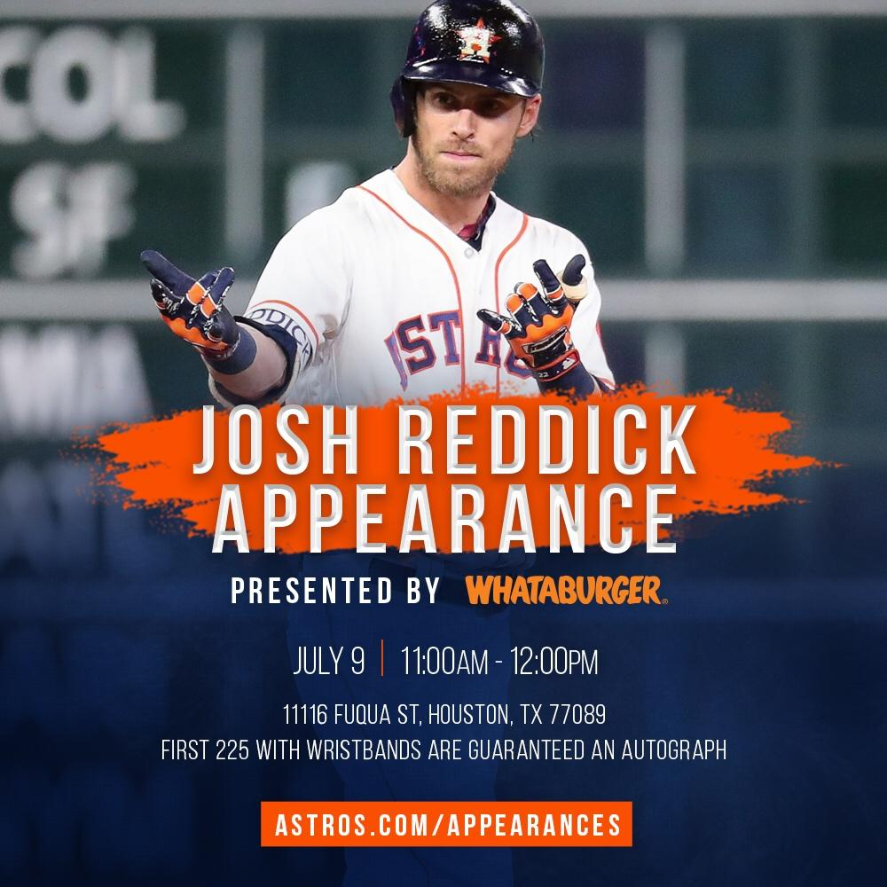 Come out to @Whataburger at 11116 Fuqua St in Houston TODAY for an autograph appearance with Josh Reddick! https://t.co/o977vEYF79