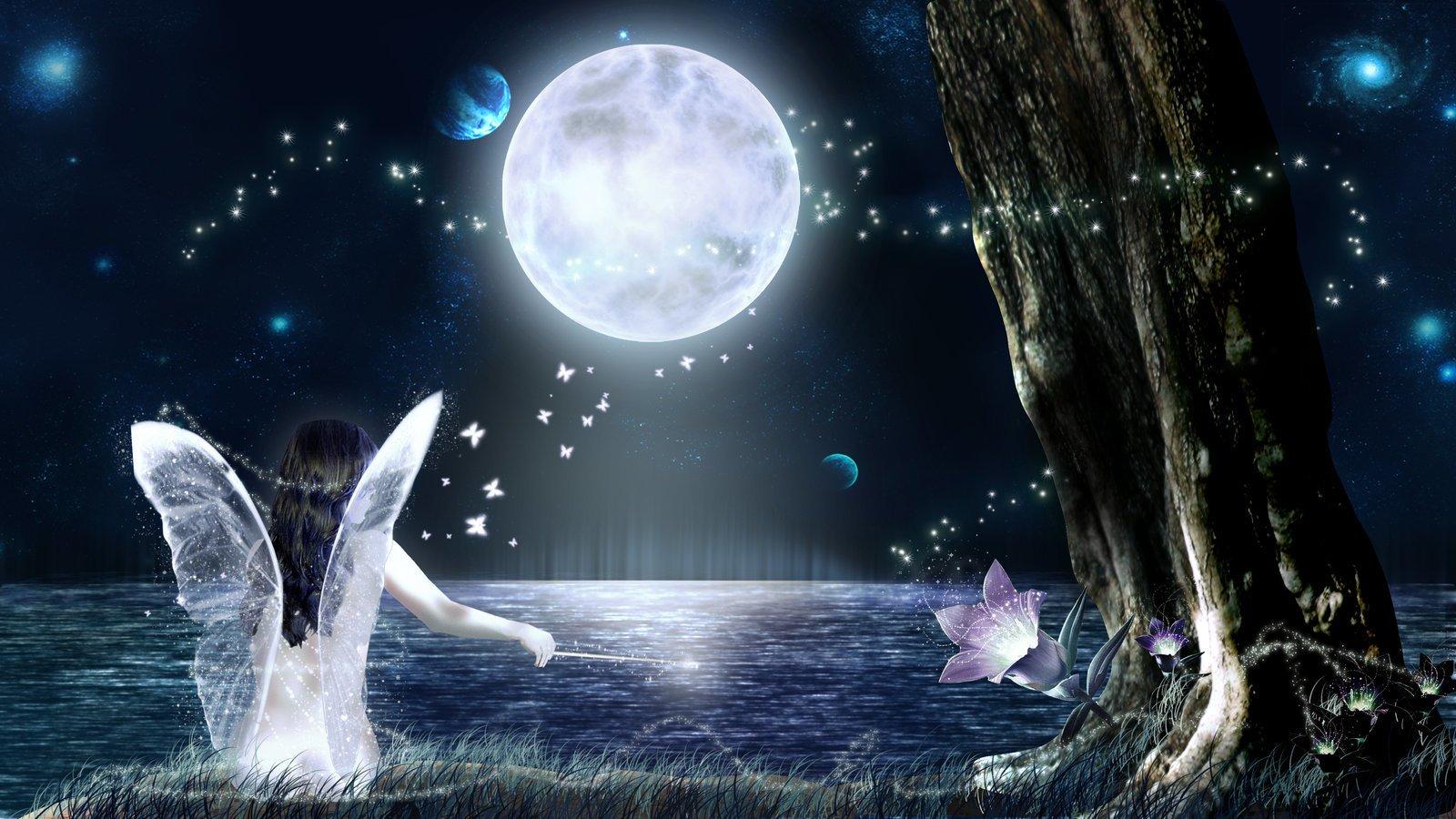 Анимационные открытки спокойной ночи сладких снов на фоне звездного неба, для