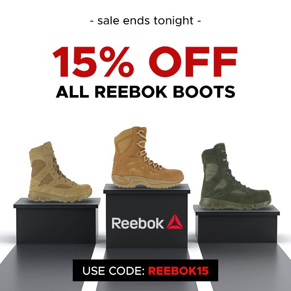 a1392fa6e Don t walk over this Reebok boot deal! 15% OFF - ENDS TONIGHT!  http   www.patriotoutfitters.com Shop-By-Brand Reebok-Brand  …  reebok   boots  footwear  sale ...
