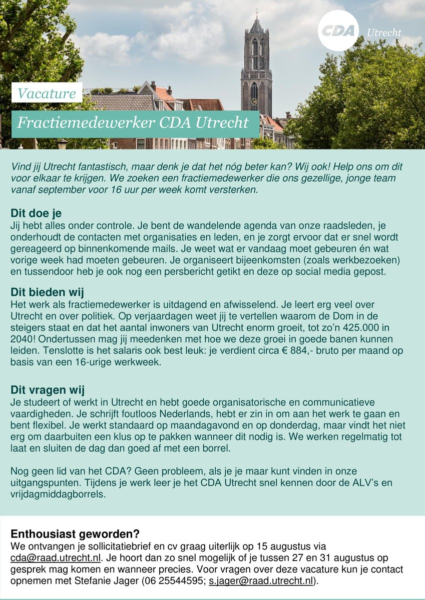 sollicitatiebrief raadslid CDA Utrecht (@CDAUtrecht) | Twitter sollicitatiebrief raadslid