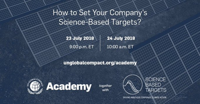 Explore what a science-based target is and how your company can align its @sciencetargets with the #ParisAgreement at the upcoming UN @globalcompact Academy session. Register today: Foto