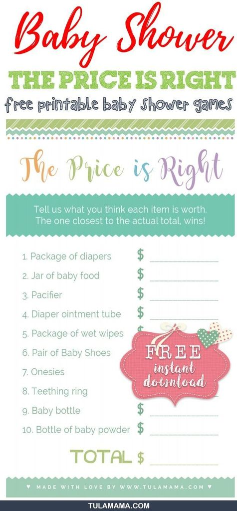 graphic about Baby Shower Price is Right Free Printable called Tulamama, LLC upon Twitter: \