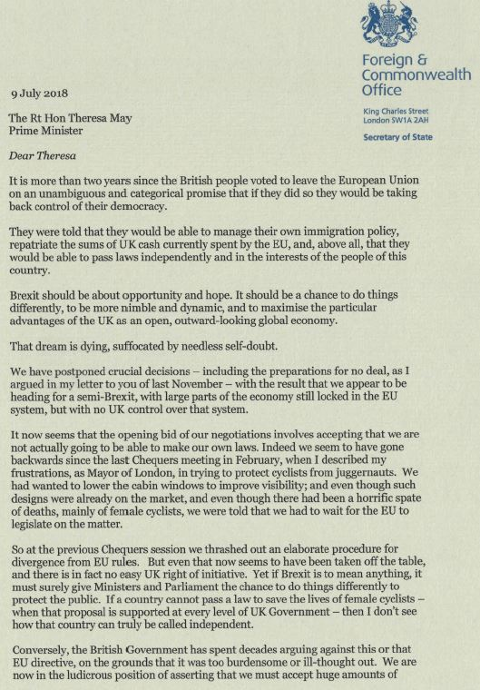 Boris Johnson resignation letter