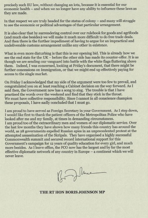 Part two of Boris Johnson resignation letter