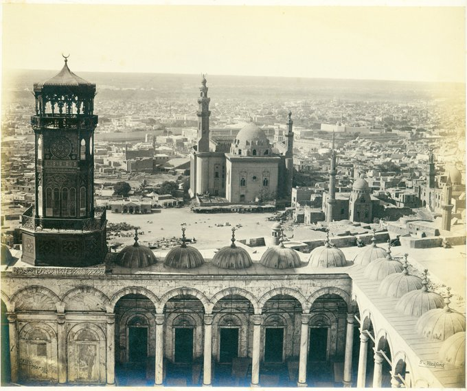 #Cairo, 3 March 1862. Photographer Francis Bedford captured this view of the city from the Mosque of Mohammed Ali, showing the Mosque of Sultan Hassan in the centre. #TravelTuesday Photo