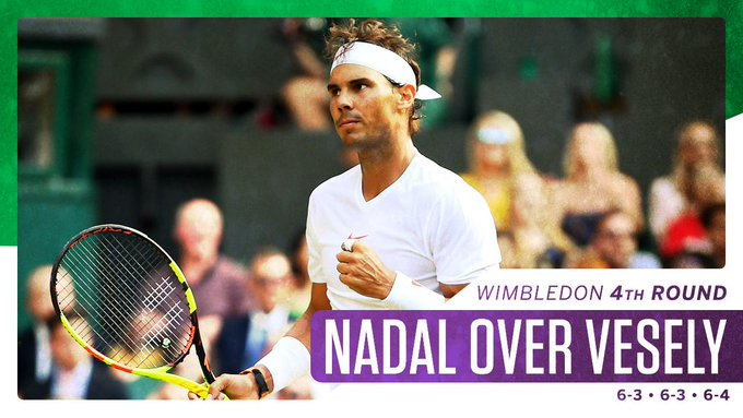 Rafa is moving on! Nadal reaches the quarterfinals at Wimbledon for the first time since 2011. Foto