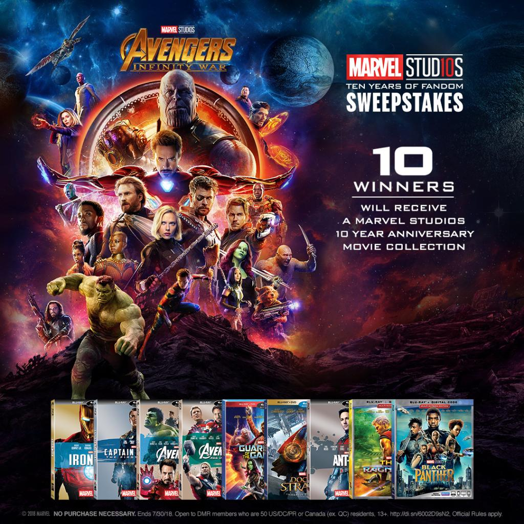 Make it more than a movie night. Enter at MarvelStudios10.com for your chance to win a Marvel Studios 10 Year anniversary movie collection.