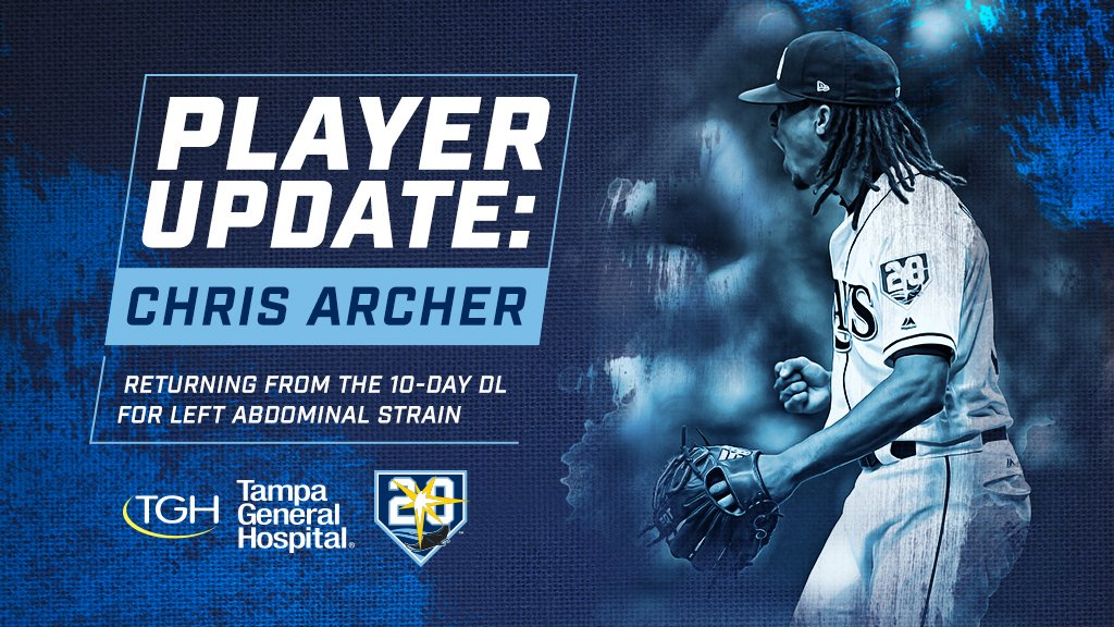 We've activated RH Chris Archer from the 10-day DL. RH Andrew Kittredge has been optioned to Triple-A @DurhamBulls. https://t.co/i8TlBvZrUZ