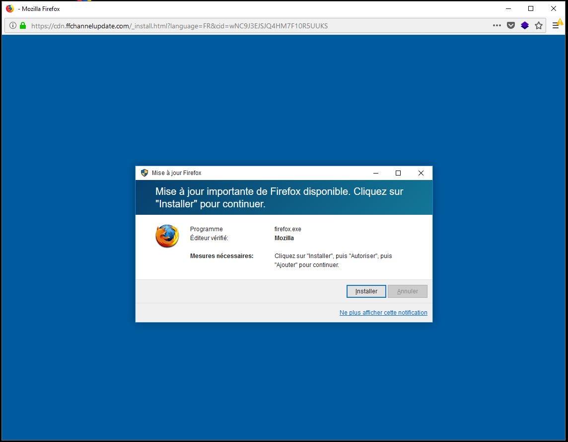 Fausse mise à jour pour #Firefox ! Fenêtre qui souvre en plein écran. Prudence, ne cliquez pas. #cybersecurite @zataz