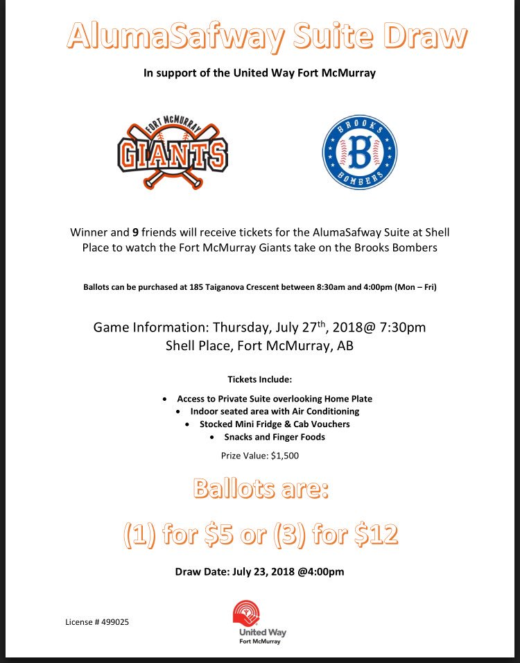 Fort Mcmurray Giants On Twitter Great Raffle From One Of Our