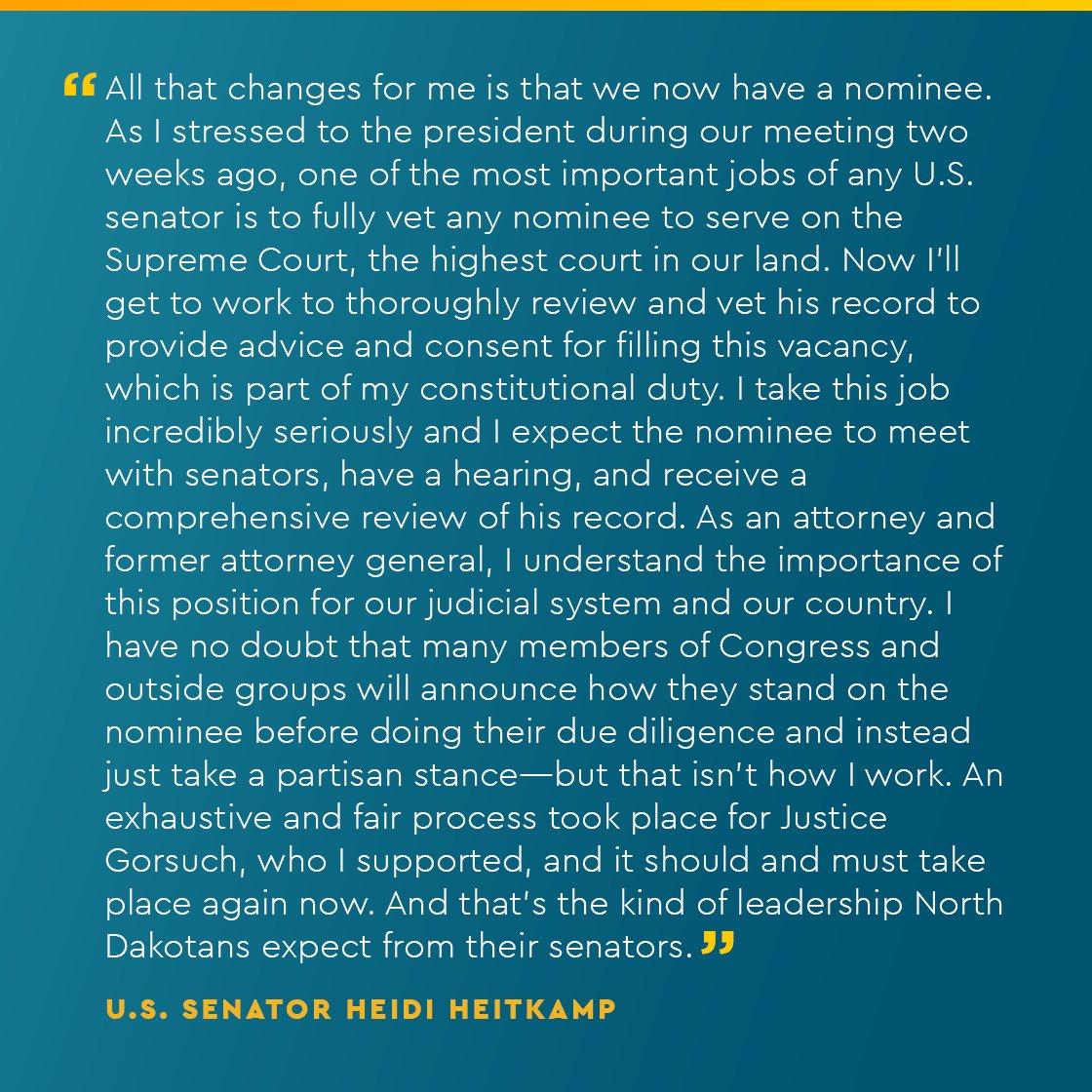 Sen Heidi Heitkamp On Twitter My Statement On The Nomination Of