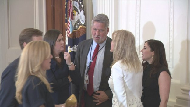 After @POTUS announcement, @PressSec and @KellyannePolls confer with new WH Deputy Chief of Staff for Communications Bill Shine, former @FoxNews Co-Pres.<br>http://pic.twitter.com/ca73Y3BLTB