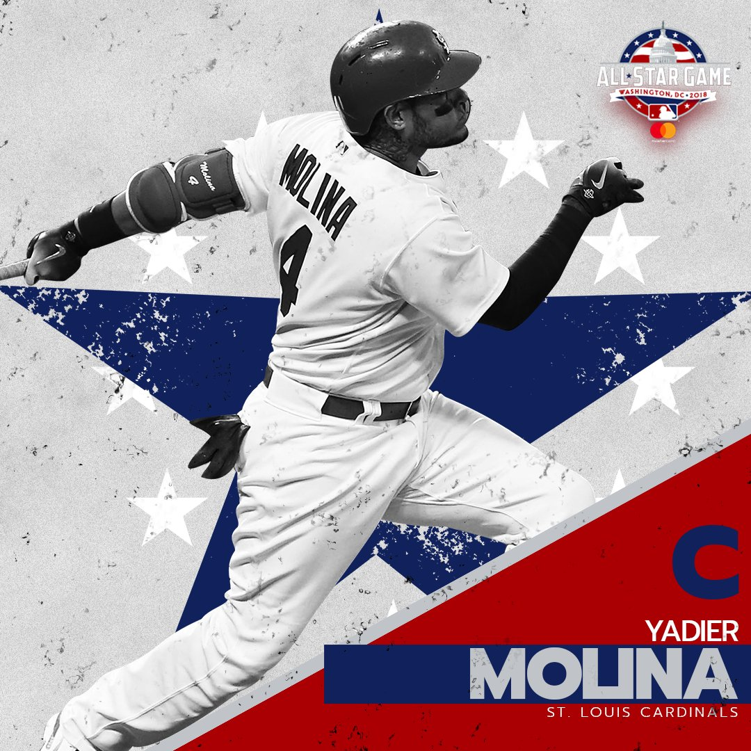 Yadier Molina has been named to the NL All-Star team to replace Buster Posey (right hip inflammation). https://t.co/0T0rmgLorv