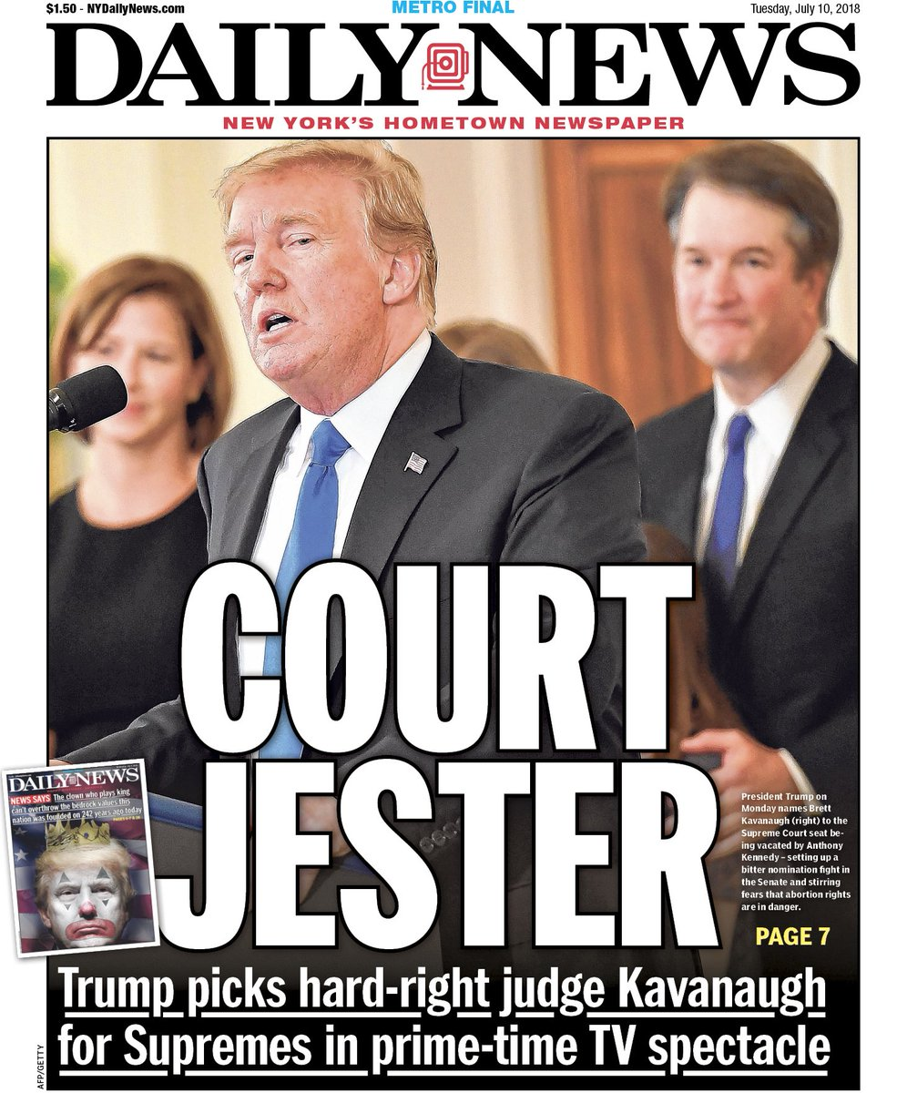 """New York Daily News Tuesday: New York Daily News On Twitter: """"Donald Trump Nominates"""