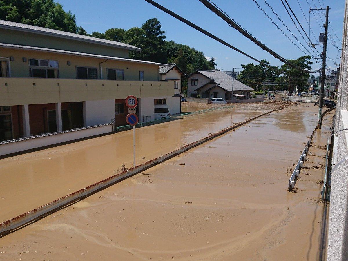 榎川が氾濫した現場の画像