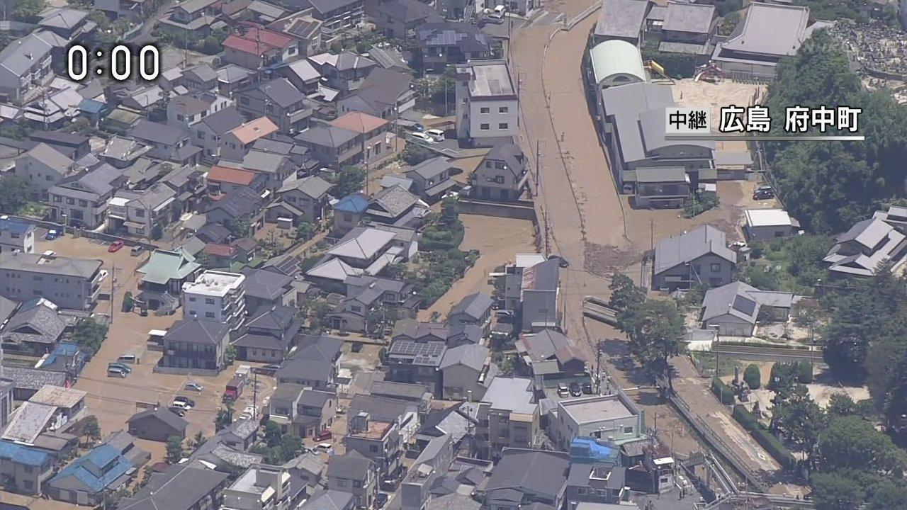 画像,NHKで映像きたな。広島の府中町の榎川が氾濫付近の人は直ちに高台に避難して下さいと。 https://t.co/5lESw44yTn…