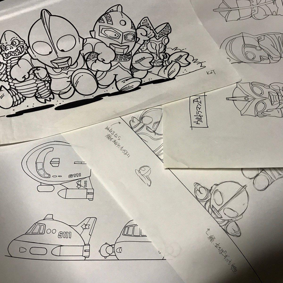 むか〜し描いた ウルトラマン指人形関連とか。デザインというよりアイデアスケッチかな。 #ウルトラマンの日