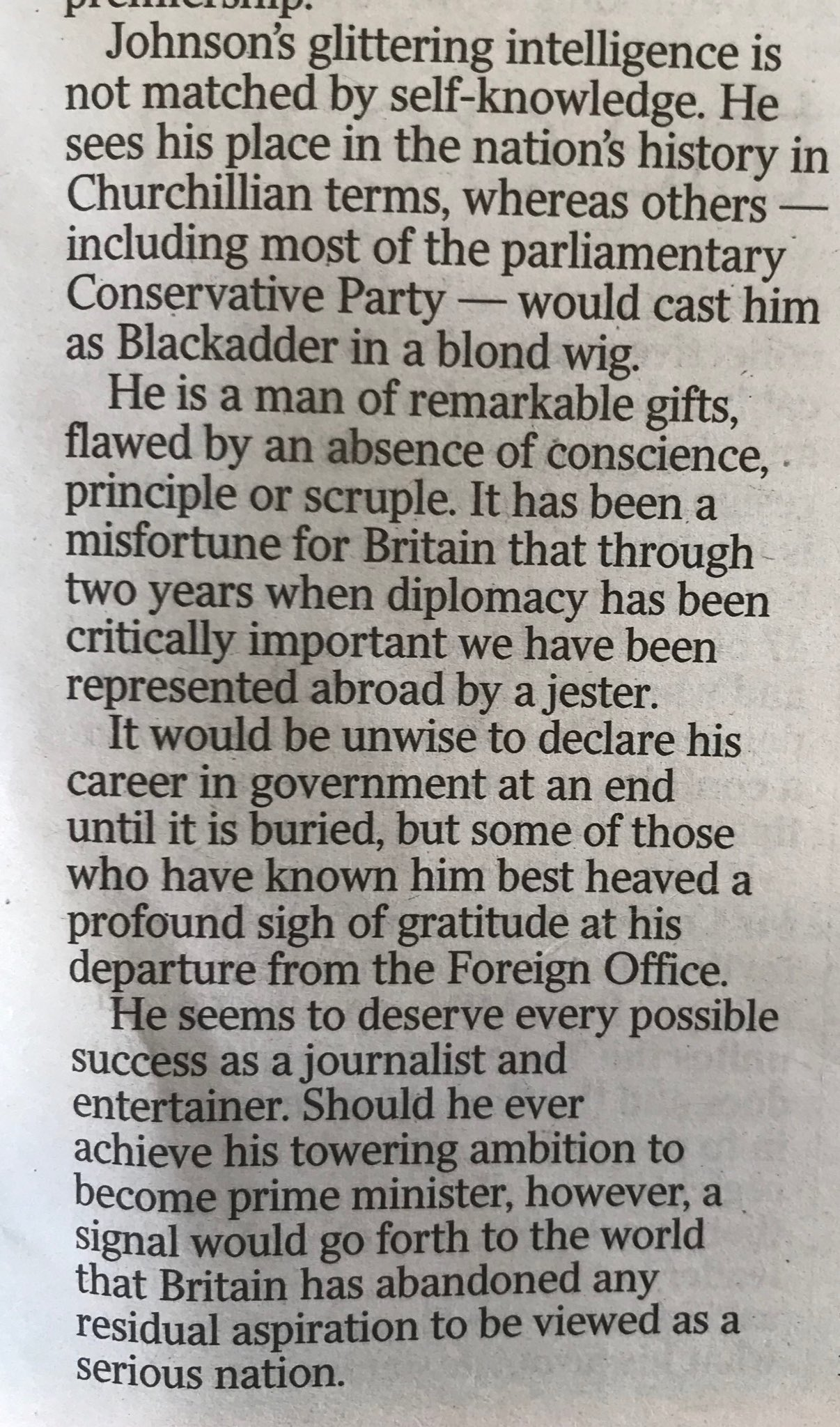"Max Hastings, former boss of Boris, writes that it is a ""common mistake to suppose Johnson a nice man"" https://t.co/vSLMxCGmxe"