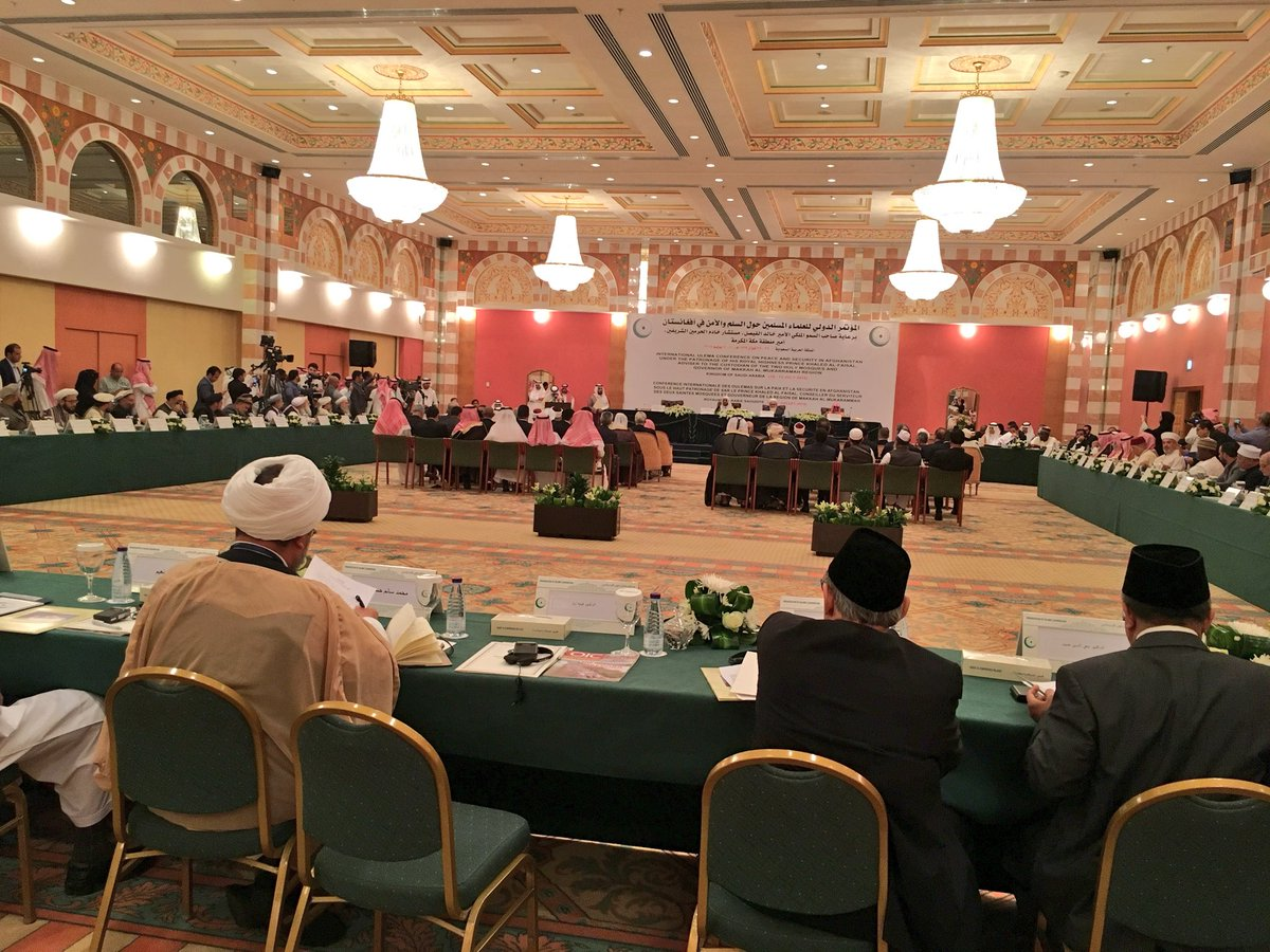 The International Ulema Conference on Afghanistan Peace and Security is startd; can be watched live through Saudi Arabia News, One & AlArabia & in Afghanistan through national media entities. 35member delegation of Afghanistan Ulema lead by Maw. Qyamuddin Kashaf z participating.