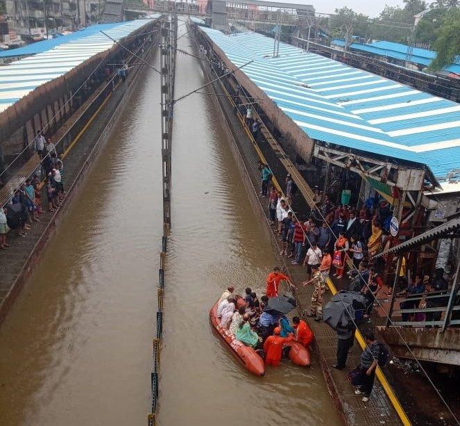 NDRF evacuates passengers from stranded Vadodara Express