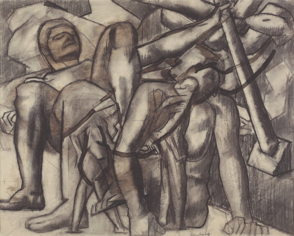 David Bomberg, Heroic Figures, c. 1912, Charcoal on Paper, Private Collection. © The estate of David Bomberg, the Bridgeman Art Gallery (Photography © Nigel Noyes)