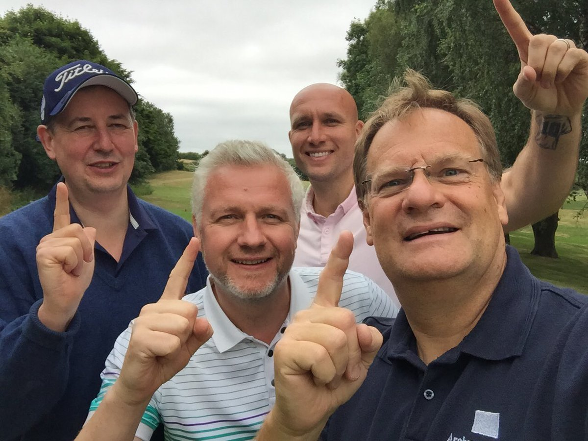 Team Archway getting ready to tee off on the @HoltRFC Golf Day at @barnhambroom with @Dean36ashton10 @Chickman1971 & the GM ! #onlytimewilltell