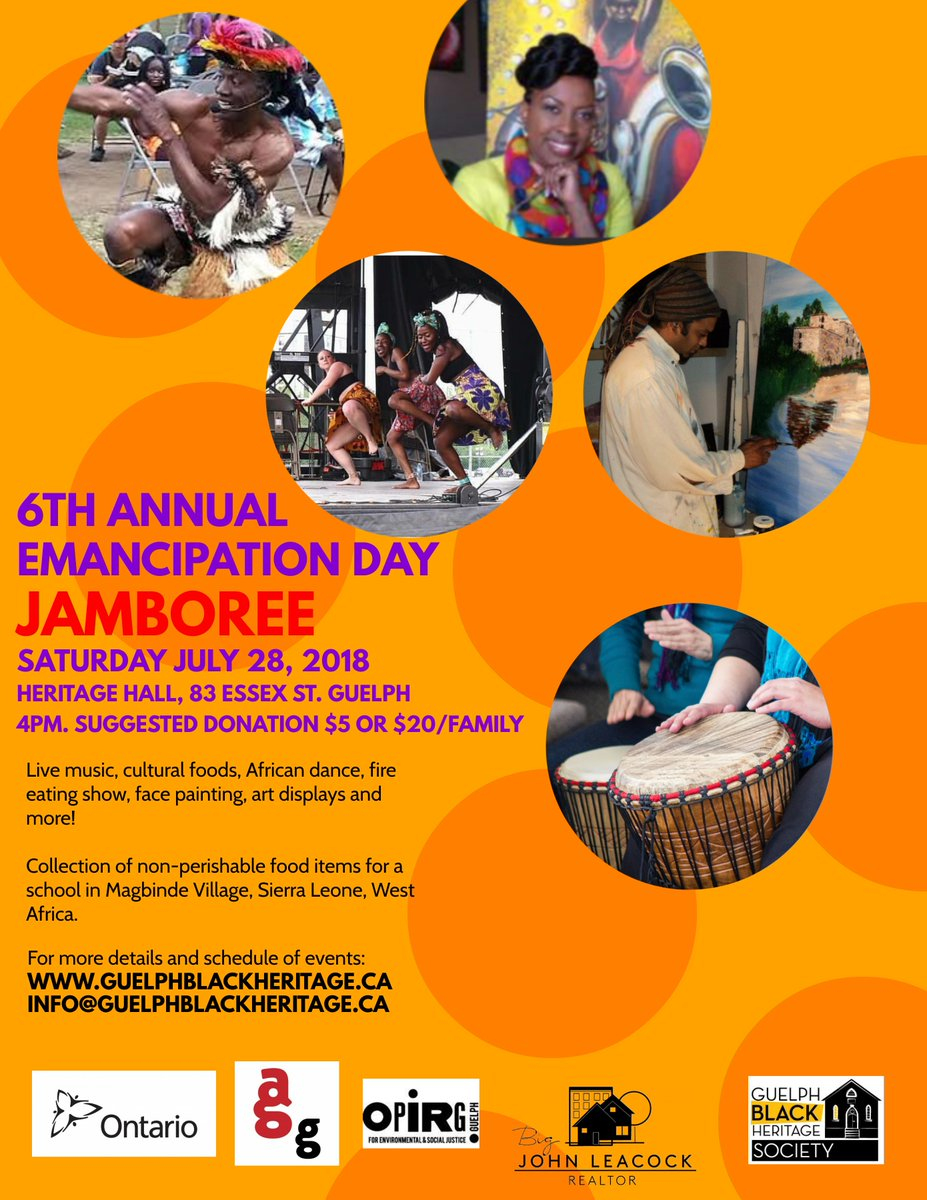 Join us for our 6th Annual #EmancipationDay Jamboree! Sat July 28th @4pm.  More details  http://www. guelphblackheritage.ca/events  &nbsp;  <br>http://pic.twitter.com/G9GeYO8yJz