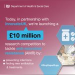 Today UK Government are calling on researchers to apply to Innovate UK for a new £10million research competition to help tackle #AMR. A fantastic opportunity that I hope will lead to new ways prevent, control, and combat #superbugs https://t.co/K3P1Gonk9o