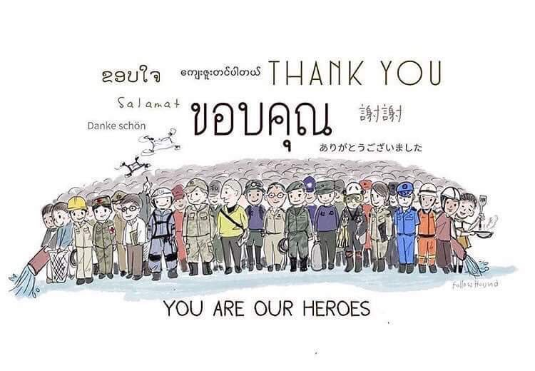To the world,   THANK YOU SO MUCH  from Thailand   #ThaiCaveRescue #Hooyah #พาทีมหมูป่ากลับบ้าน <br>http://pic.twitter.com/KkCX6wH7hS