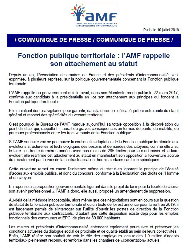 Fonction publique territoriale : l'AMF rappelle son attachement au statut #CollTerr  http:// www.amf.asso.fr/document/index.asp?DOC_N_ID=25531&TYPE_ACTU=1  - FestivalFocus
