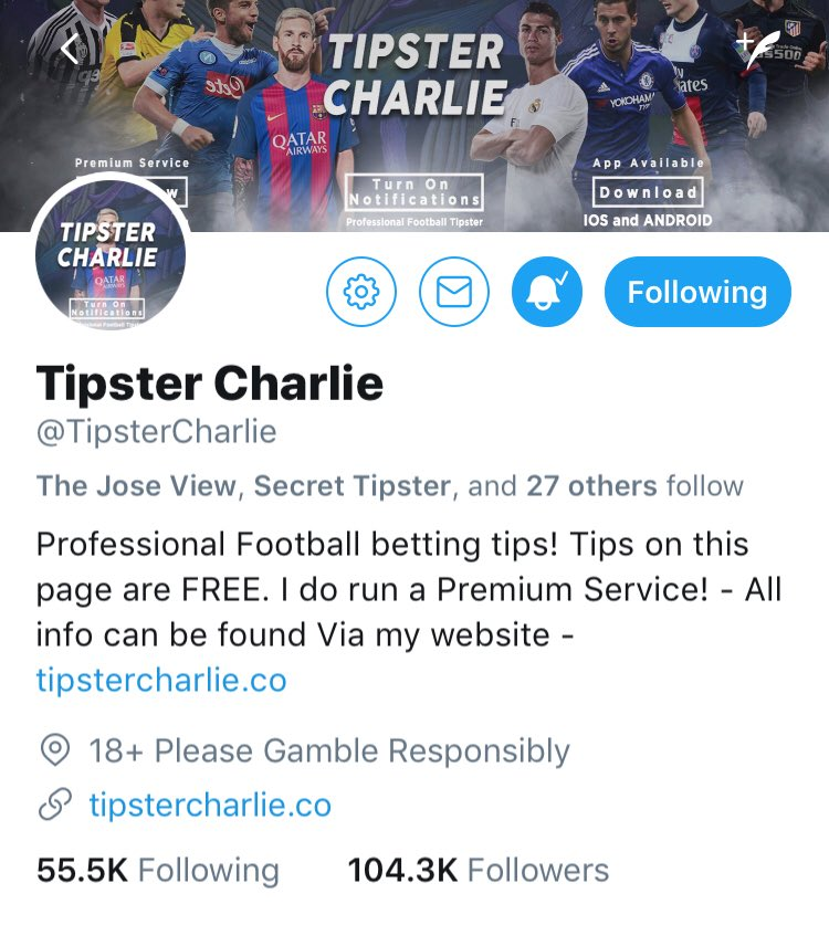 19350f2dab4c Tipster Charlie on Twitter