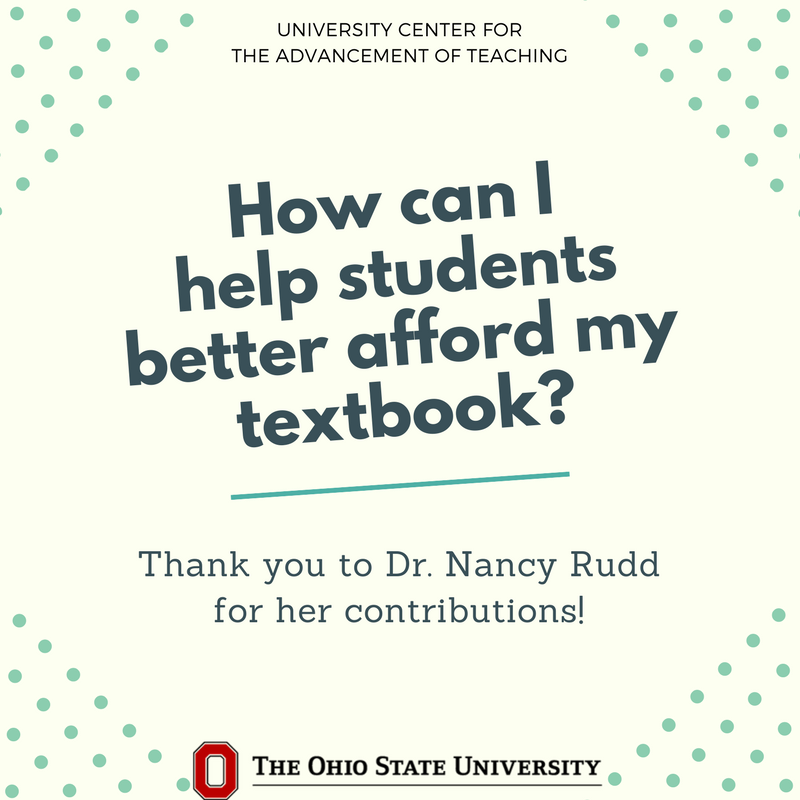 Helping students afford textbooks @OhioState: Put the book on reserve @OSULibrary. #alxosu