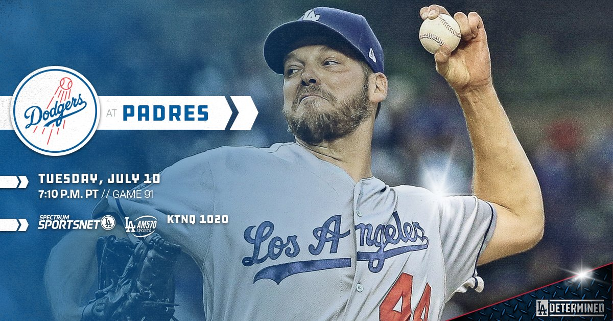 #Dodgers seek second straight win in San Diego with Rich Hill on the mound.   ��: https://t.co/iCkCYn4gQV https://t.co/HYQB0LFTIQ