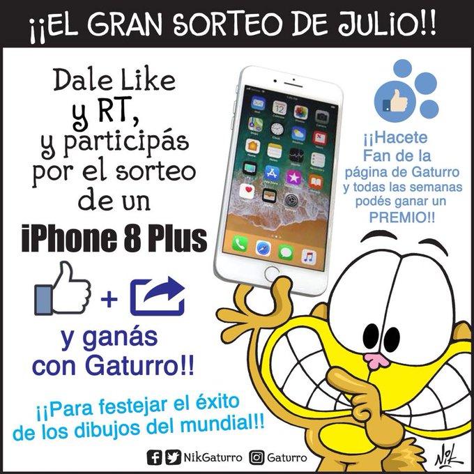 Último día para darle LIKE y RT, y ganarte un IPHONE 8 PLUS !!!! Sí, exclusivo para los FANS de la Página de Gaturro!!! Like, RT, y PARTICIPAS!!! Y siguen los dibujos del MUNDIAL!!! Vamos!!! #MartesIntratable Foto