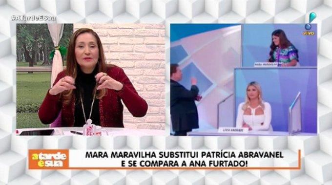 Sonia Abrão defende Mara Maravilha após apresentadora substituir Patrícia Abravanel e brincar ao se comparar com Ana Furtado: Vocês estão procurando pelo em ovo, só pra detonar uma pessoa#ATardeESua Foto